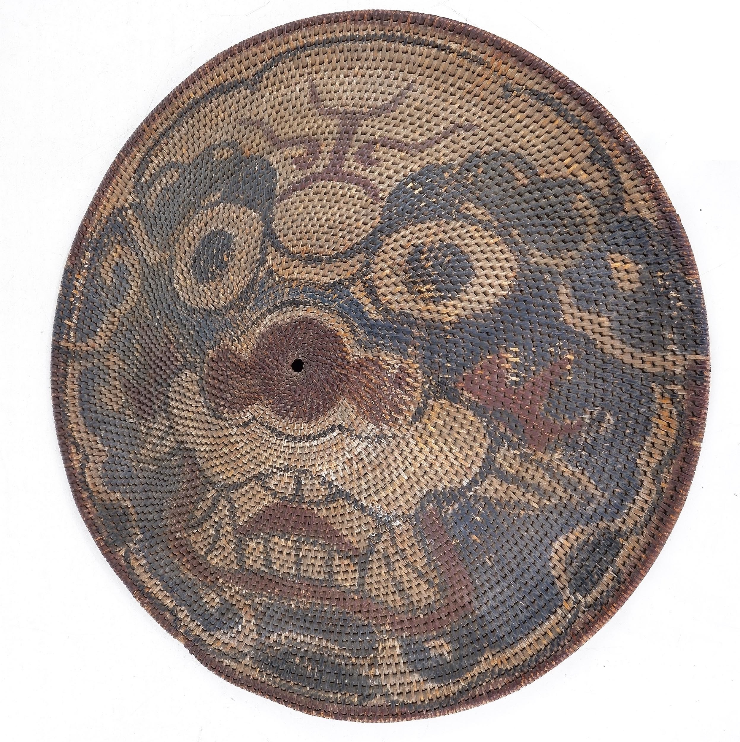 'Chinese Qing Dynasty Rattan Shield (Tengpai) Painted with a Visage of a Tiger, Late 18th/Early 19th Century'