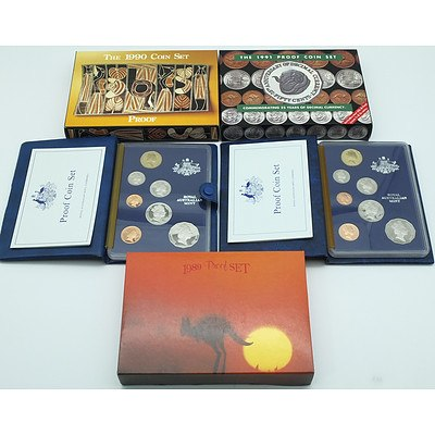 1985, 1987, 1989, 1990, 1991 Proof Coin Sets