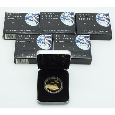 Five 1992 Five Dollar Proof Coin