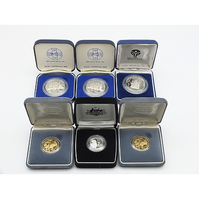 Group of Six Proof Coins, Including 1988 $2 Proof Coin, 1985 $10 Proof Coin VIC and More
