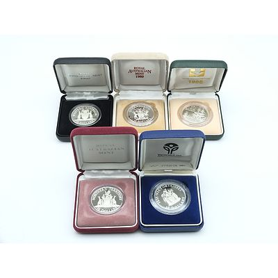 Five $10 Silver Proof Coins, Including 1985, 1988, 1989, 1990 and 1992