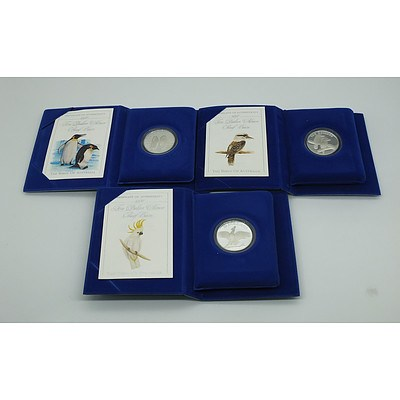Three Ten Dollar Silver Proof Coins Birds of Australia 1989, 1990 and 1992