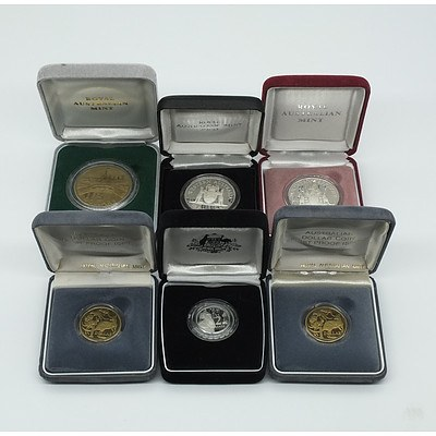 Six Proof Coins, Including 1990 Ten Dollar Silver Proof Coin and 1992 Ten Dollar Silver Proof Coin