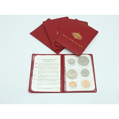 Five 1980 RAM Red Wallet Uncirculated Coin Sets