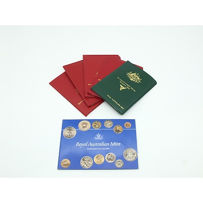 Six Uncirculated Coins Sets, Including XII Commonwealth Games Brisbane 1982 Green Wallet Coin Set