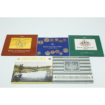Five RAM Uncirculated Coin Sets, Including 1984, 1985, 1986, 1987 and 1988