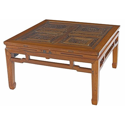 Chinese Elm and Pine Carved Low Square Table with Glass Top