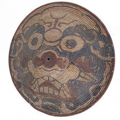 Chinese Qing Dynasty Rattan Shield (Tengpai) Painted with a Visage of a Tiger, 19th Century