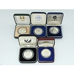 Five $10 Dollar Silver Proof Coins, Including 1985, 1986 and 1987 State Series Coins