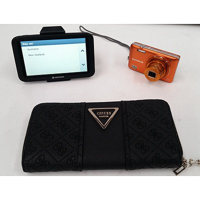 Olympus Camera, Navman GPS & Guess Purse