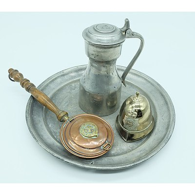 Two Antique Pewter Wares, Miniature Warming Pan and a Miniature Police Helmet