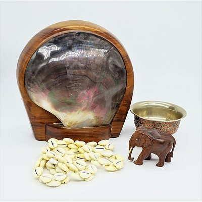 Carved Elephant Figure, Mounted Shell, Carved Copper Bowl and a Shell Necklace