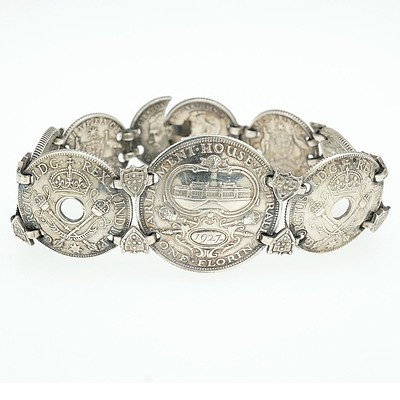 Commemorative English and Australian Coin Bracelet with Florins and Six Pence's from 1927 to 1943