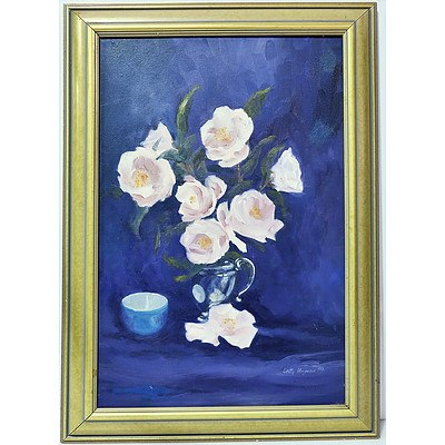 Betty Hayman Pink Blue and Silver Oil on Board