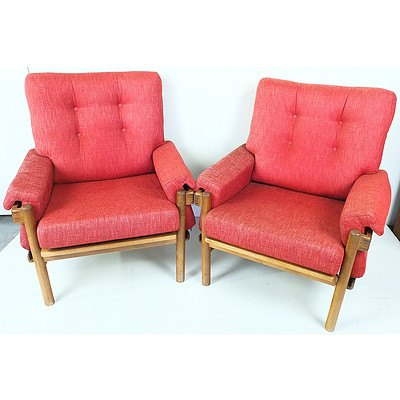 Pair of Retro Danish Deluxe Ash and Red Fabric Upholstered Armchairs