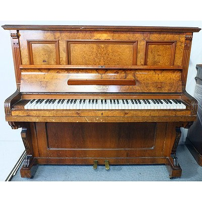 Ferd Thurmer Meissen Burr Walnut Upright Piano