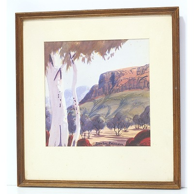 Brenton Raberaba (1951-74) Hermannsburg School Landscape with Gums, Watercolour