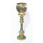 Japanese Champleve Enamel Archaistic Design Jardiniere and Stand, Late Meiji Period