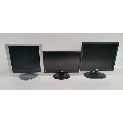 Assorted 15, 17 & 19-Inch LCD Monitors - Lot of Ten