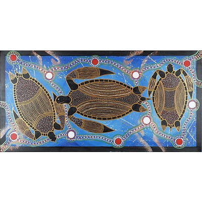 Warren Brim (Djabugay Clan Kuranda QLD) Sea Turtles 2014 Oil on Stretched Canvas