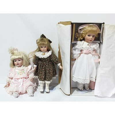 Lot of Three Heritage Heirloom Collection Porcelain Dolls