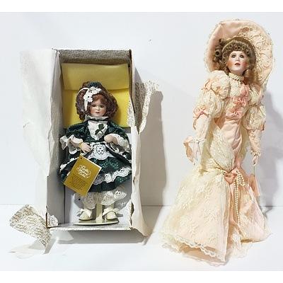 Two Franklin Heirloom Porcelain Dolls