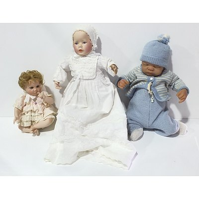 Lot of Three Aston Drake Rubber Baby and Franklin Heirloom Prince William and Other Porcelain Dolls
