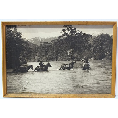 Framed Photograph of a Snowy River Survey Group