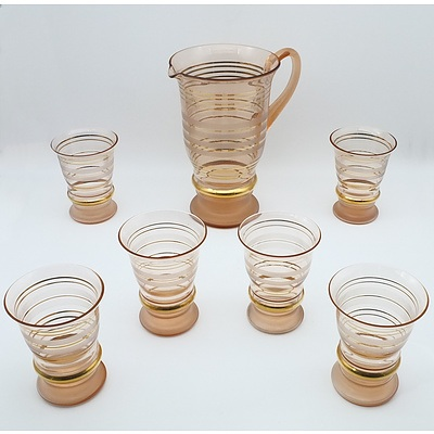 Art Glass Water Pitcher Set for Six