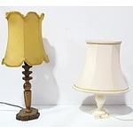 Group of Four Decorative Lamps with Carved and Cast Bases