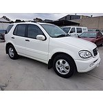 5/2002 Mercedes-Benz Ml 270 CDI (4x4) W163 4d Wagon White 2.7L