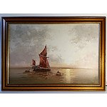L Alexis Sailing in the Mediterranean - Oil on Canvas