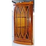 Modern Yew Veneer Corner Cabinet