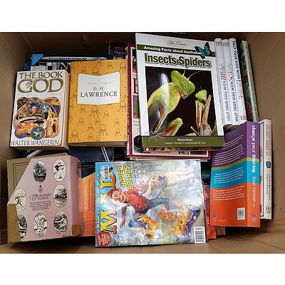 Lot of 2 Large Boxes of Assorted Books in Various Themes.