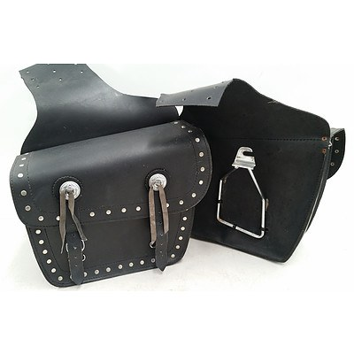 Pair of Black Leather Saddle Bags