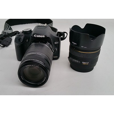 Canon EOS 500D DSLR Camera w/ Additional Canon Sigma Lens
