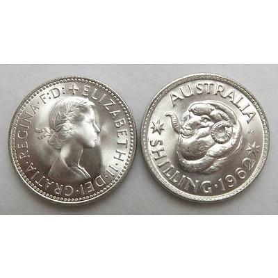 Australian Silver Shillings 1962
