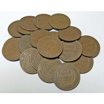 Collection of Australian King George V 1919 Pennies