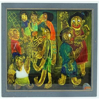 Nugroho (Indonesia) Dolanan Anak, Reverse Painting on Glass