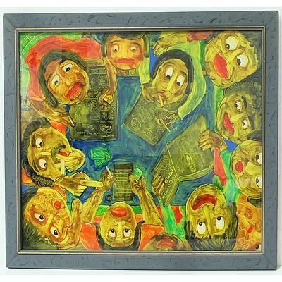Nugroho (Indonesia) Meramal Togel, Reverse Painting on Glass