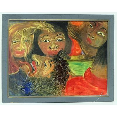 Nugroho (Indonesia) Mimpi Makan Bakso, Reverse Painting on Glass