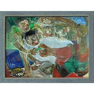 Nugroho (Indonesia) Cukur Jenggot, Reverse Painting on Glass