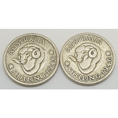 Both 1946 Australian Shillings including the scarce Perth mint mark coin and Melbourne mintmark coin