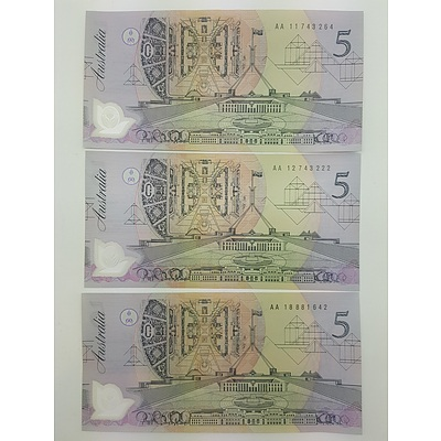 Three First Issue Five Dollar Notes All with AA Prefix