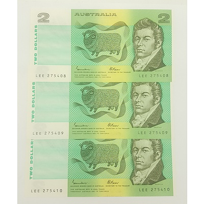 1985 Last Year of Issue Three Consecutive Serial Numberred $2 Notes