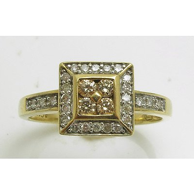 9ct Gold - Cognac & White Diamond Ring