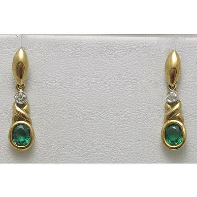 9ct Gold Gilson Emerald & Diamond Earrings
