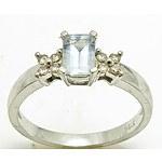 9ct White Gold Aquamarine & Diamond Ring