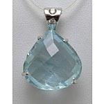 18ct White Gold Aquamarine & Diamond Pendant