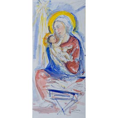 ZOFREA, Salvatore (b.1946) Madonna & Child Mixed Media on Paper